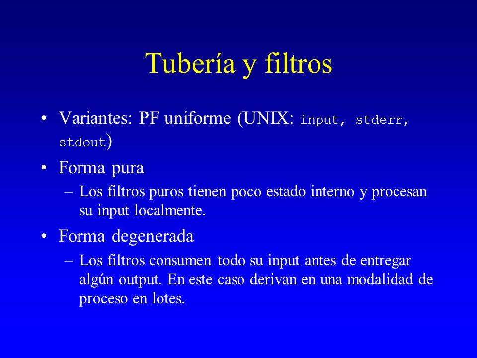 Tubería y filtros Variantes: PF uniforme (UNIX: input, stderr, stdout)
