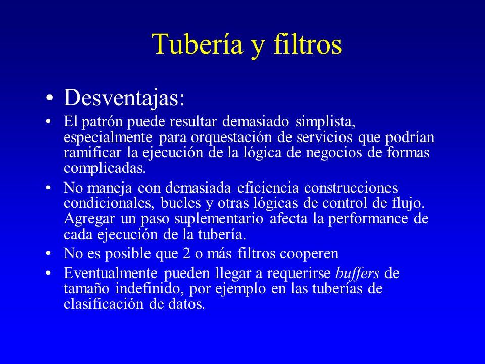 Tubería y filtros Desventajas: