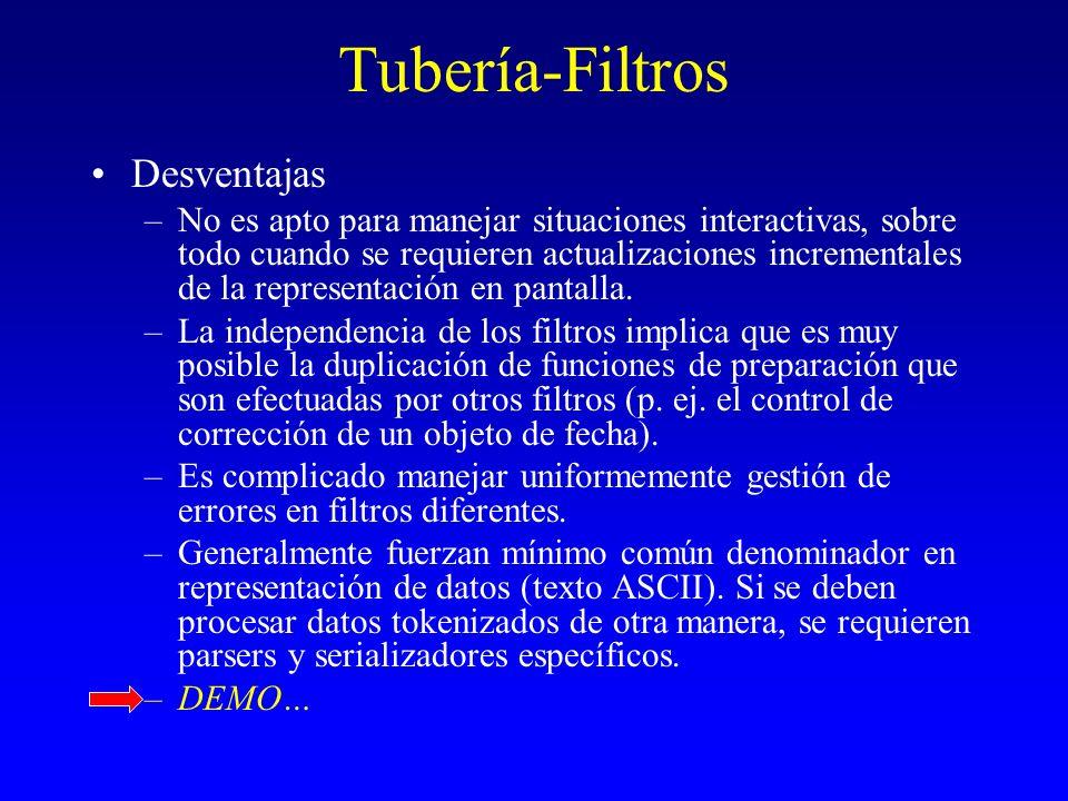 Tubería-Filtros Desventajas