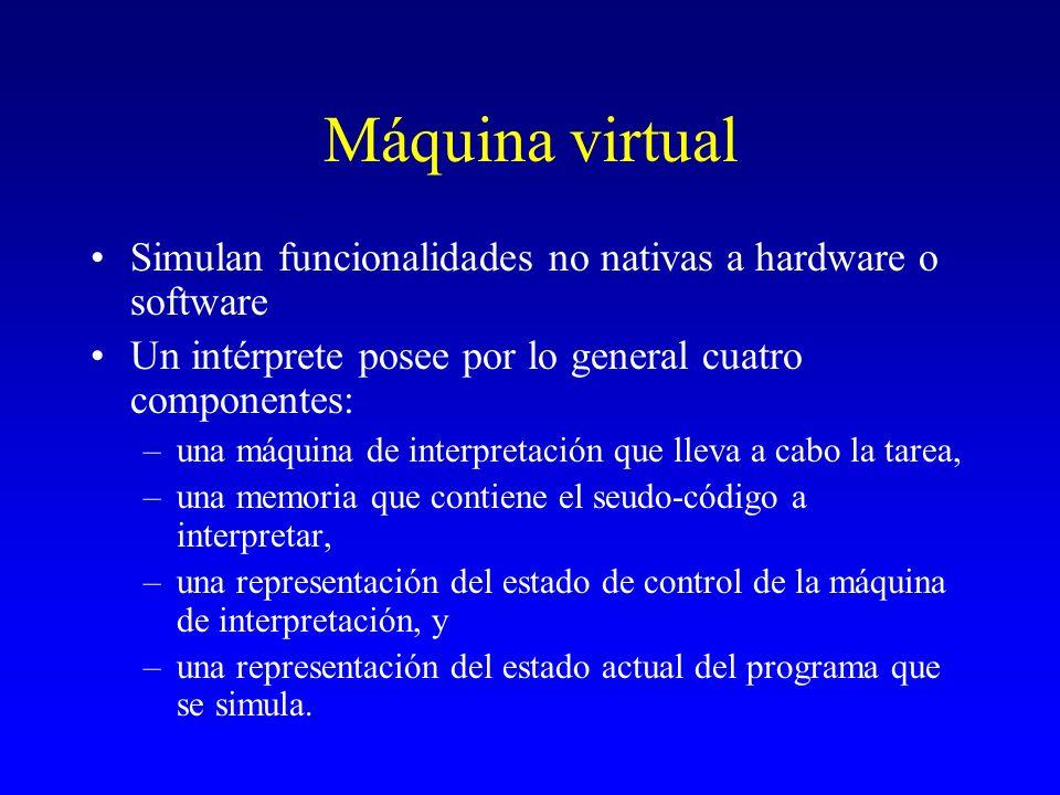 Máquina virtual Simulan funcionalidades no nativas a hardware o software. Un intérprete posee por lo general cuatro componentes: