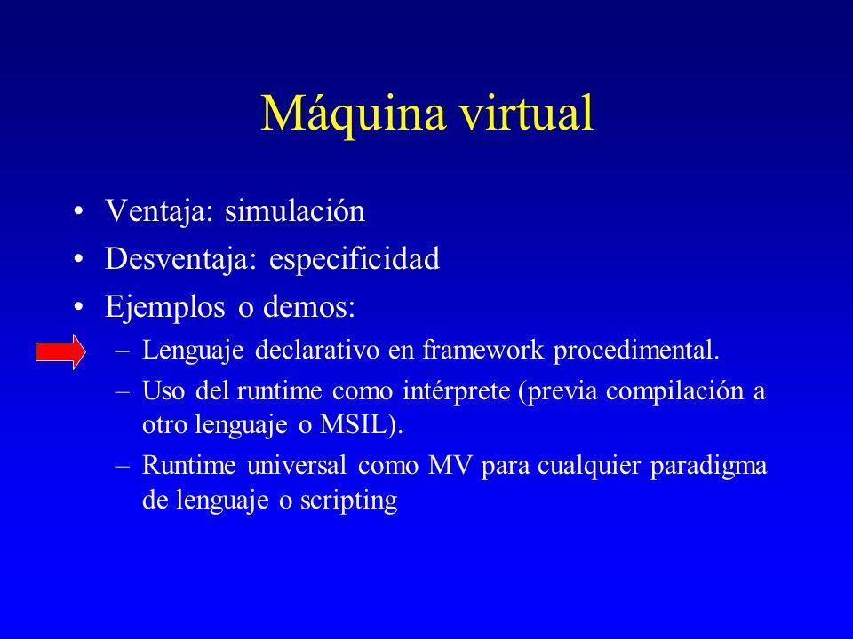 Máquina virtual Ventaja: simulación Desventaja: especificidad