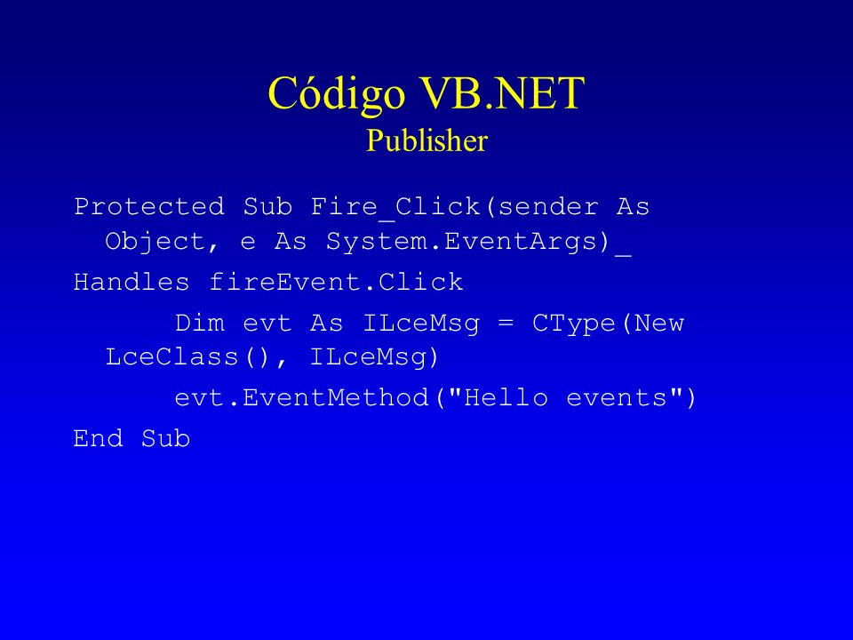 Código VB.NET Publisher