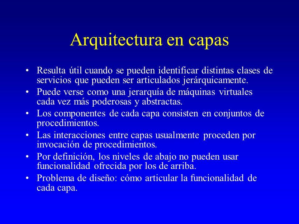 Arquitectura en capasResulta útil cuando se pueden identificar distintas clases de servicios que pueden ser articulados jerárquicamente.