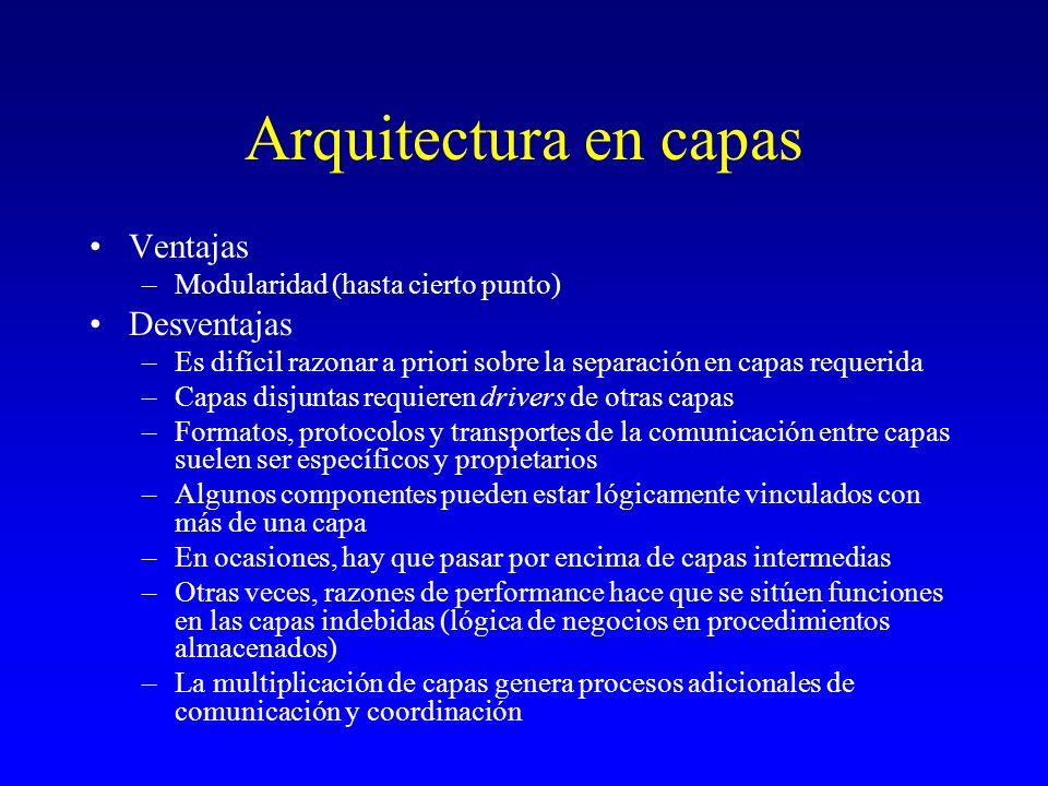 Arquitectura en capas Ventajas Desventajas