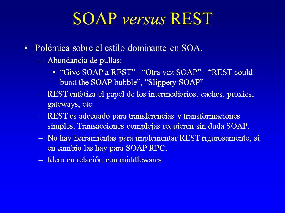 SOAP versus REST Polémica sobre el estilo dominante en SOA.