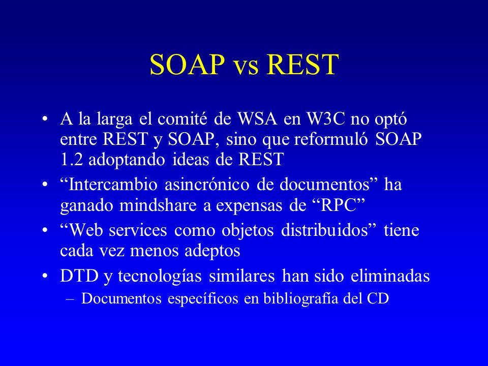 SOAP vs REST A la larga el comité de WSA en W3C no optó entre REST y SOAP, sino que reformuló SOAP 1.2 adoptando ideas de REST.