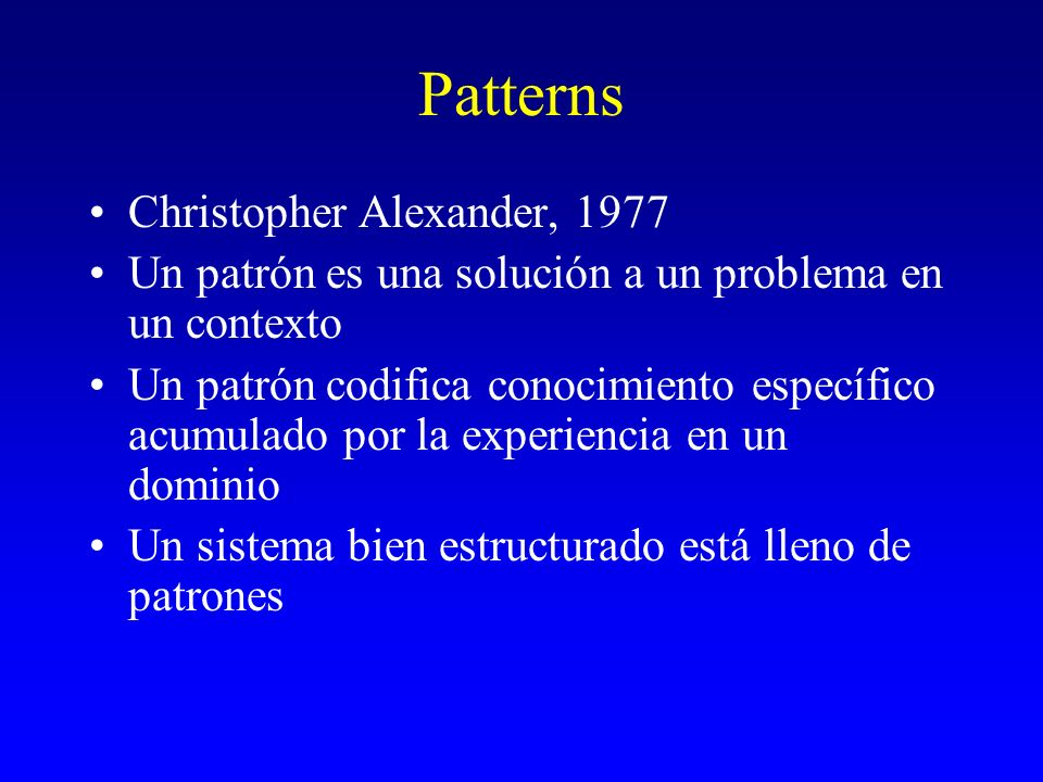 Patterns Christopher Alexander, 1977