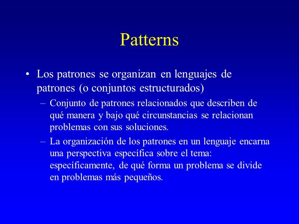 Patterns Los patrones se organizan en lenguajes de patrones (o conjuntos estructurados)
