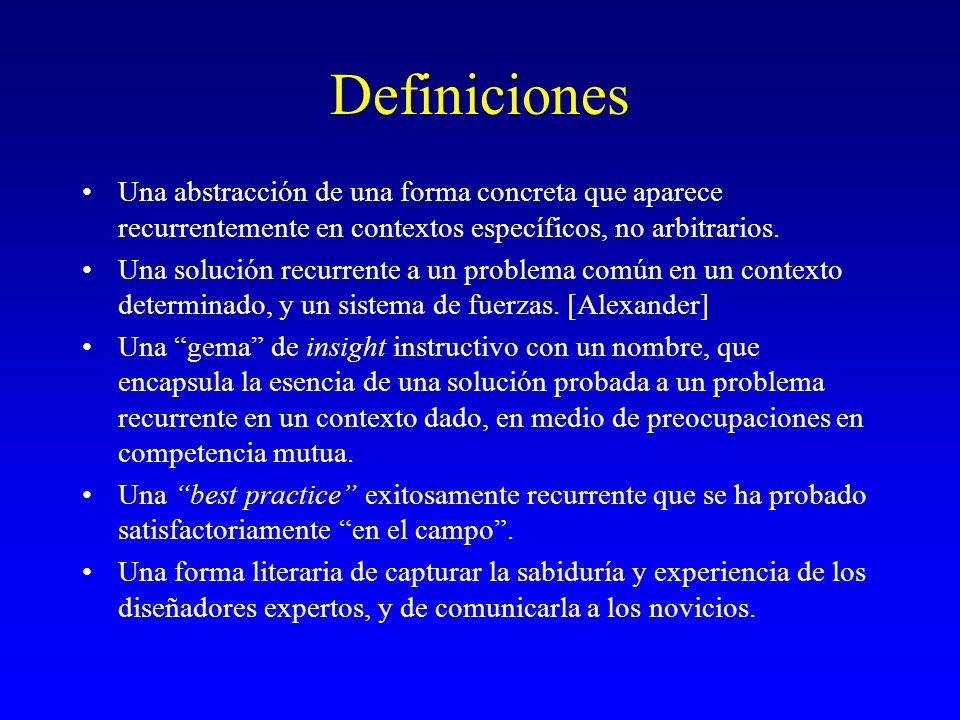 Definiciones Una abstracción de una forma concreta que aparece recurrentemente en contextos específicos, no arbitrarios.