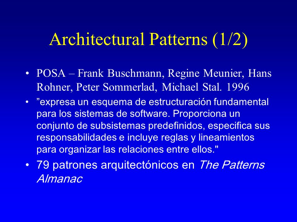Architectural Patterns (1/2)