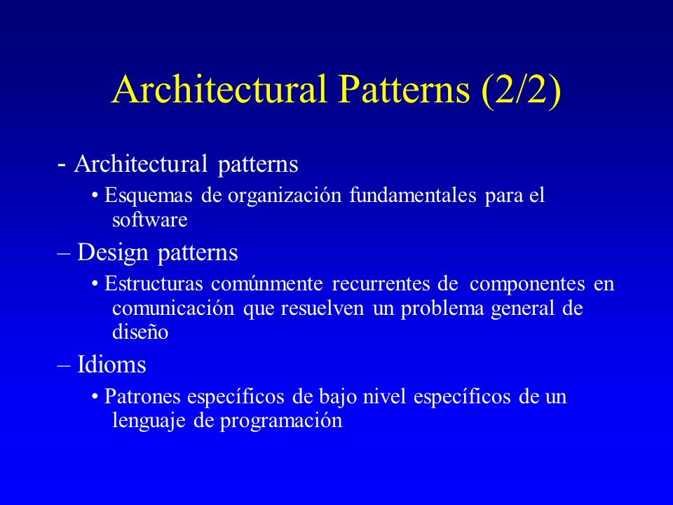 Architectural Patterns (2/2)