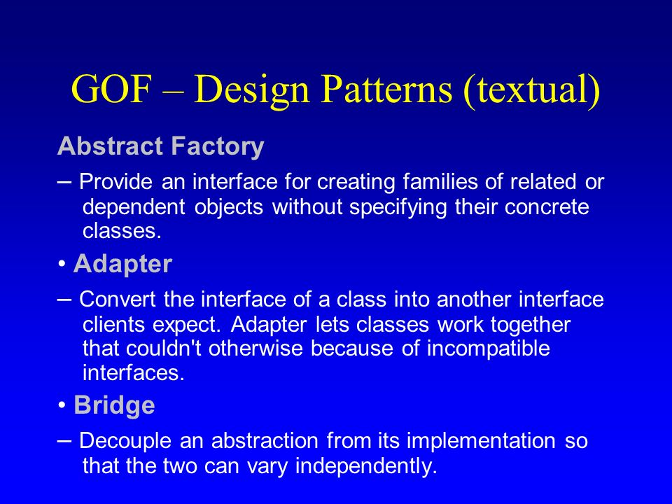 GOF – Design Patterns (textual)