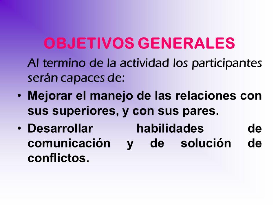 OBJETIVOS GENERALES Al termino de la actividad los participantes serán capaces de:
