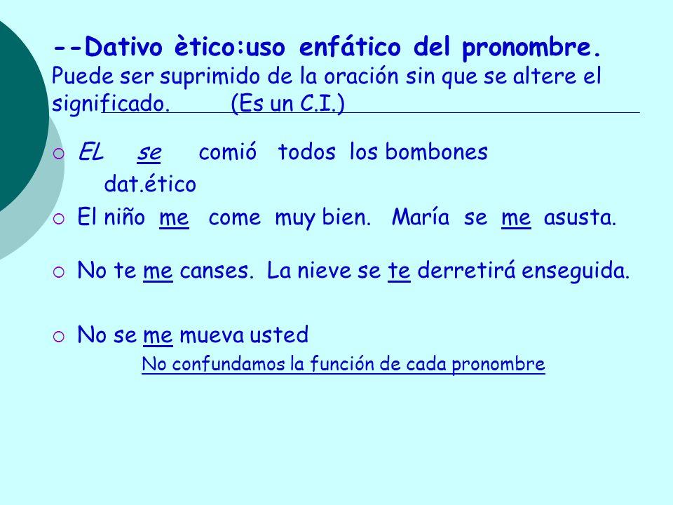 --Dativo ètico:uso enfático del pronombre