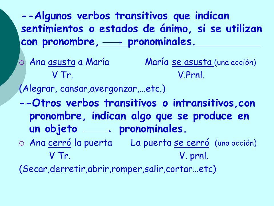 --Algunos verbos transitivos que indican sentimientos o estados de ánimo, si se utilizan con pronombre, pronominales.