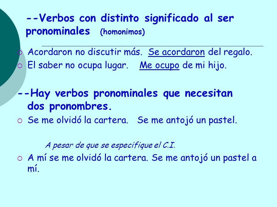 --Verbos con distinto significado al ser pronominales (homonimos)