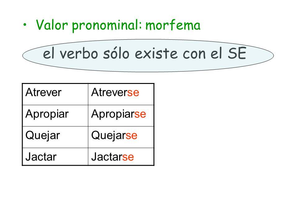 el verbo sólo existe con el SE