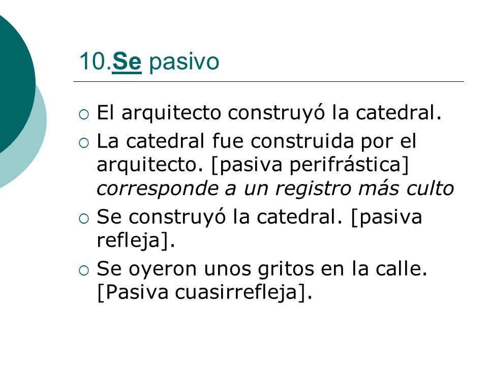 10.Se pasivo El arquitecto construyó la catedral.