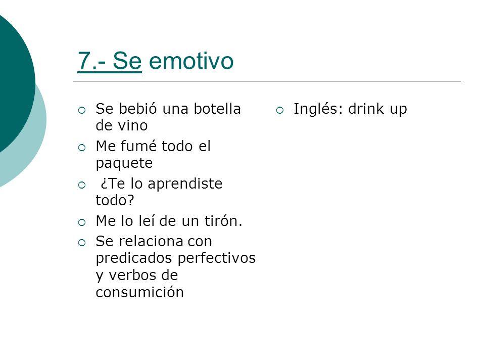 7.- Se emotivo Se bebió una botella de vino Me fumé todo el paquete