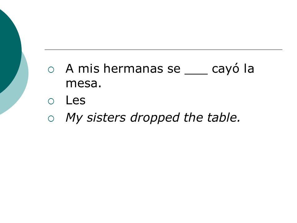 A mis hermanas se ___ cayó la mesa.