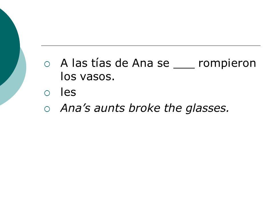 A las tías de Ana se ___ rompieron los vasos.