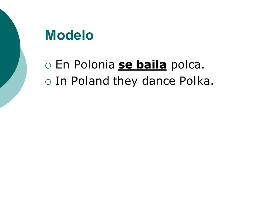 Modelo En Polonia se baila polca. In Poland they dance Polka.