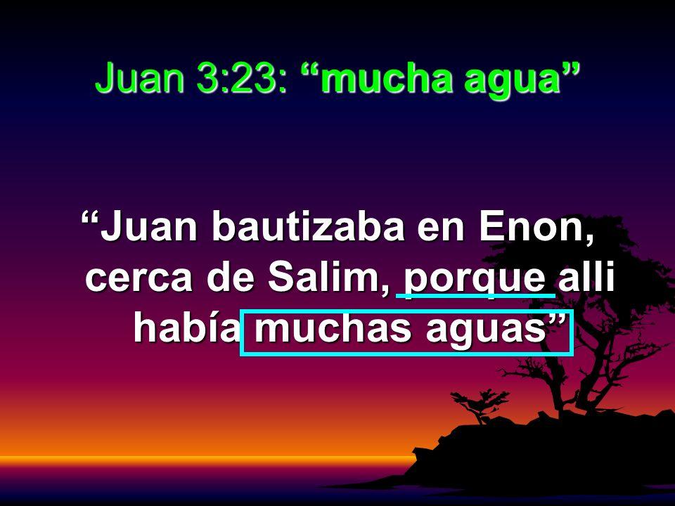 Juan 3:23: mucha agua Juan bautizaba en Enon, cerca de Salim, porque alli había muchas aguas