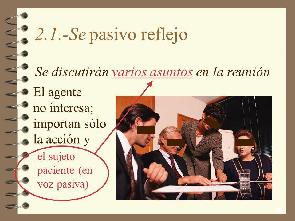 2.1.-Se pasivo reflejo Se discutirán varios asuntos en la reunión