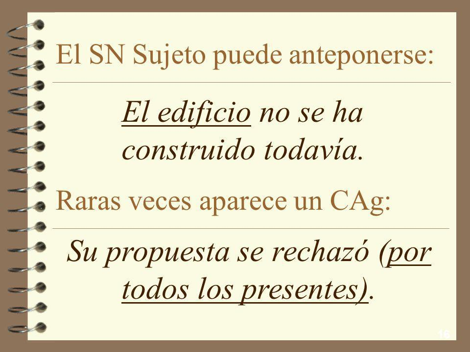 El SN Sujeto puede anteponerse: