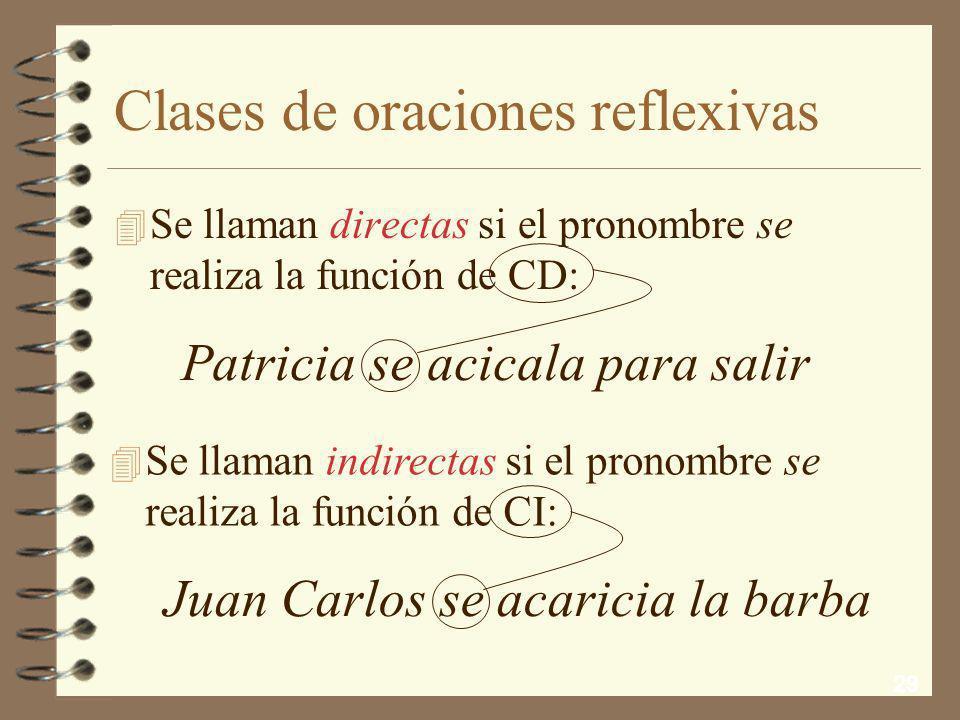 Clases de oraciones reflexivas