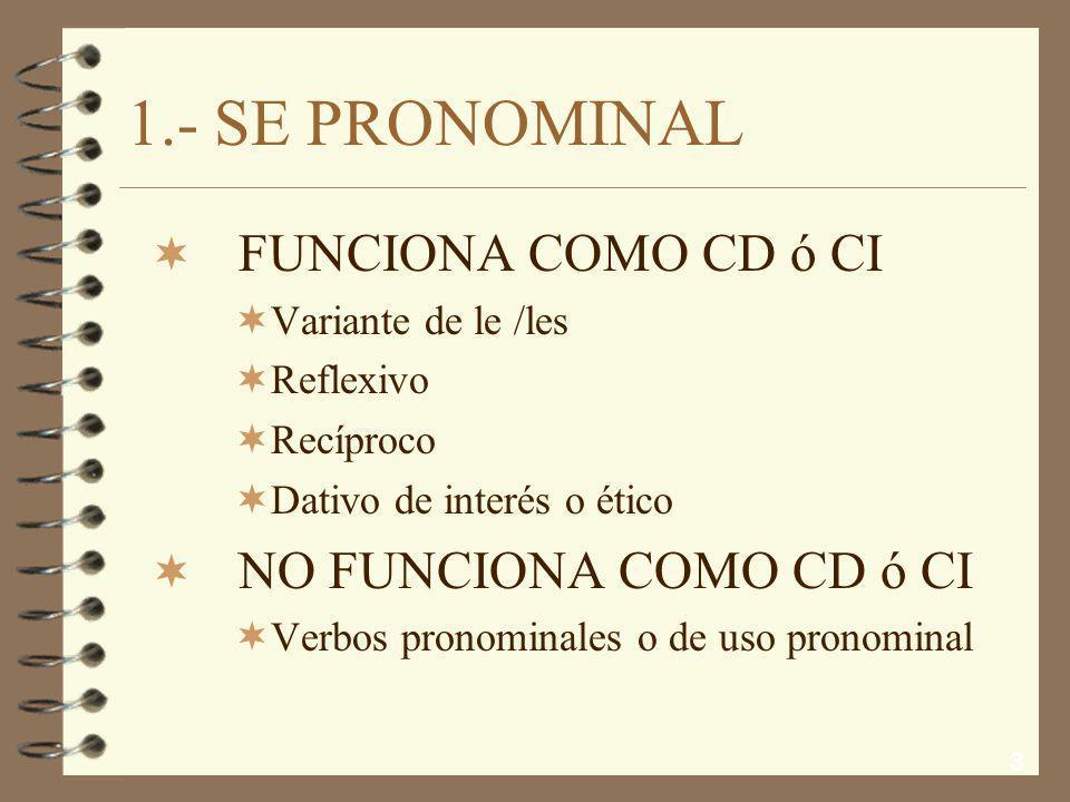 1.- SE PRONOMINAL FUNCIONA COMO CD ó CI NO FUNCIONA COMO CD ó CI