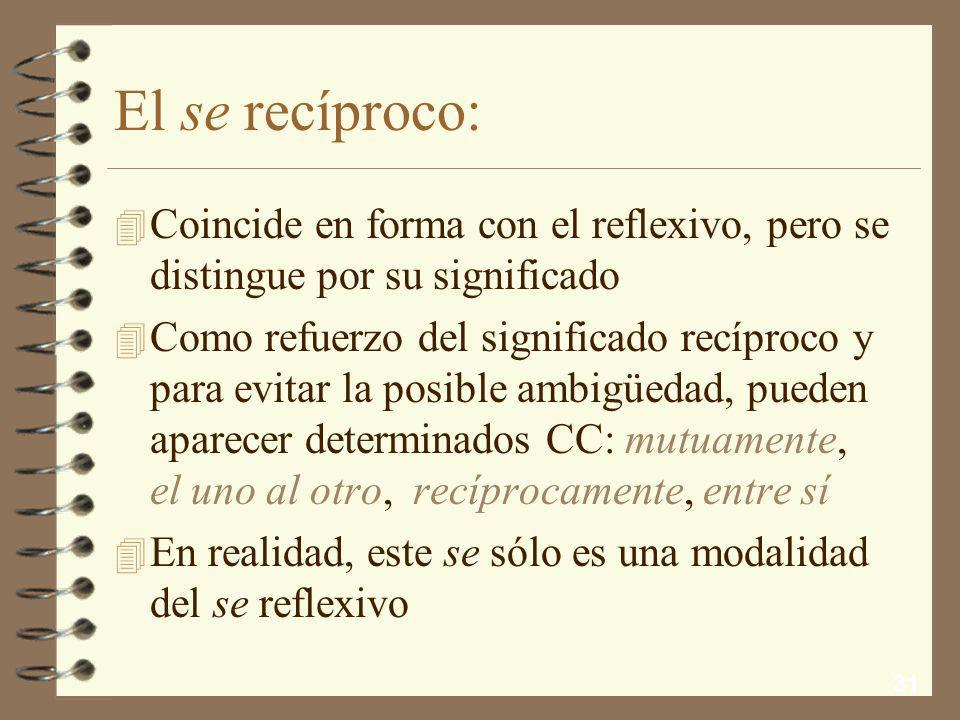 El se recíproco: Coincide en forma con el reflexivo, pero se distingue por su significado.