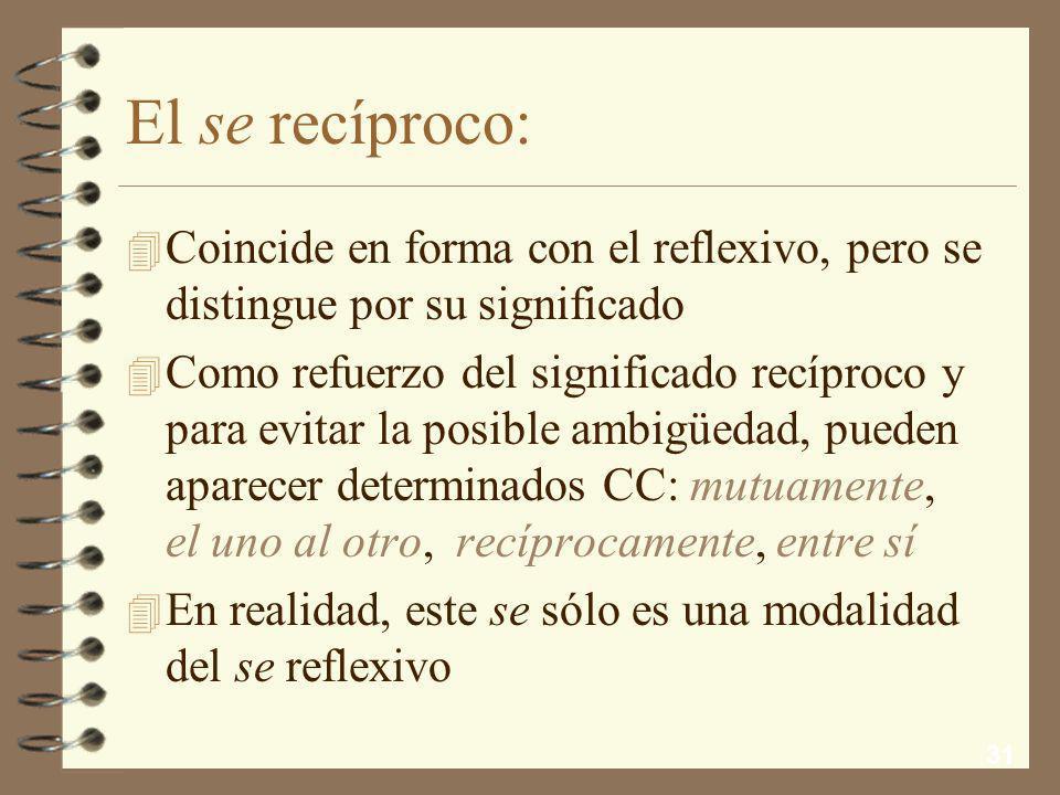 El se recíproco:Coincide en forma con el reflexivo, pero se distingue por su significado.