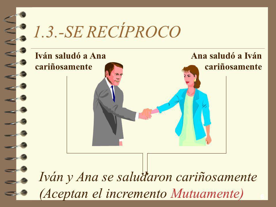 1.3.-SE RECÍPROCO Iván y Ana se saludaron cariñosamente