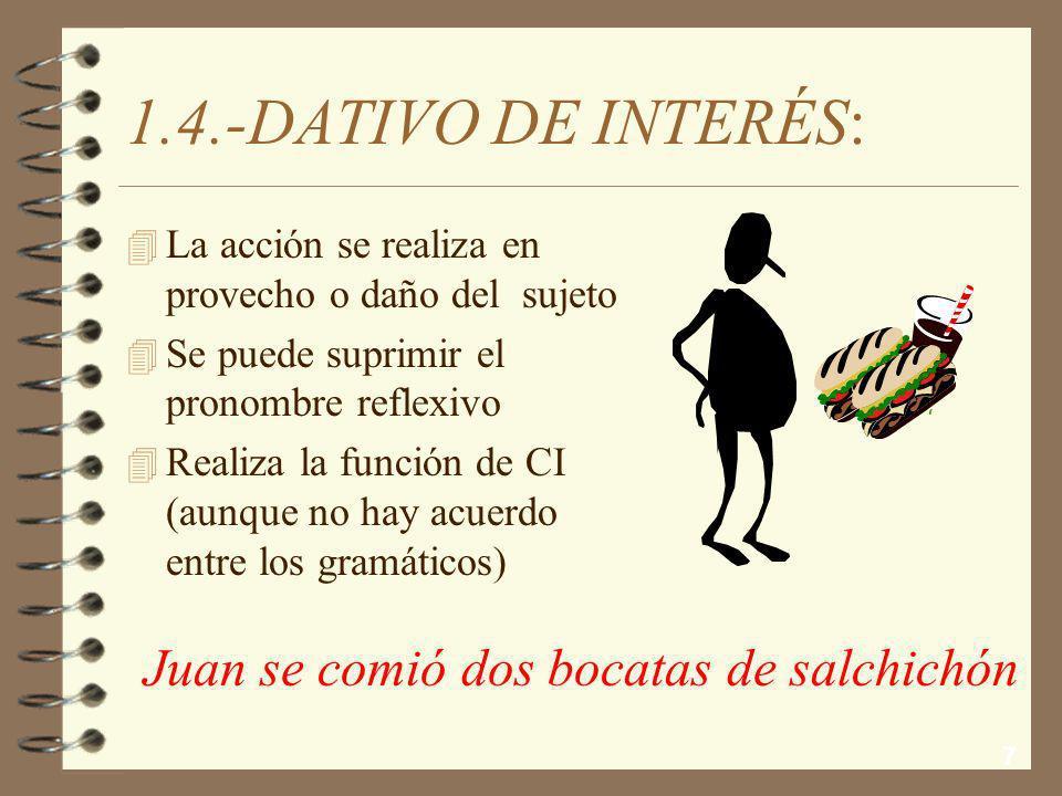 1.4.-DATIVO DE INTERÉS: Juan se comió dos bocatas de salchichón