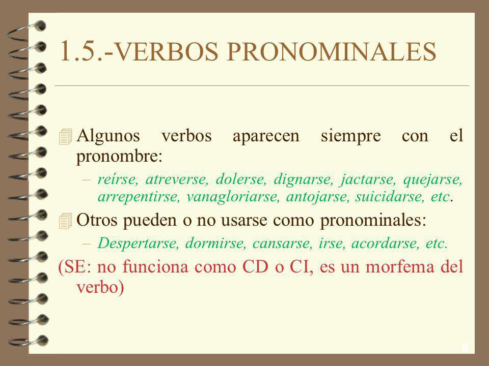 1.5.-VERBOS PRONOMINALES Algunos verbos aparecen siempre con el pronombre: