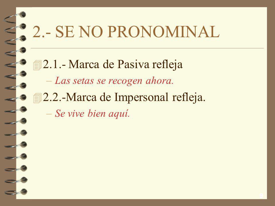 2.- SE NO PRONOMINAL 2.1.- Marca de Pasiva refleja