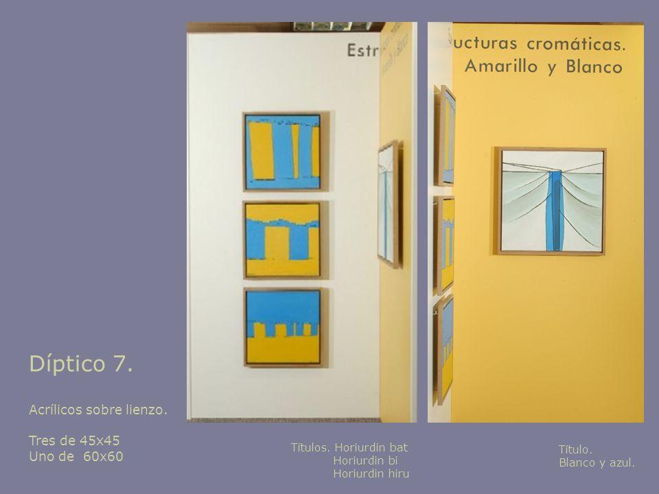 Díptico 7. Acrílicos sobre lienzo. Tres de 45x45 Uno de 60x60