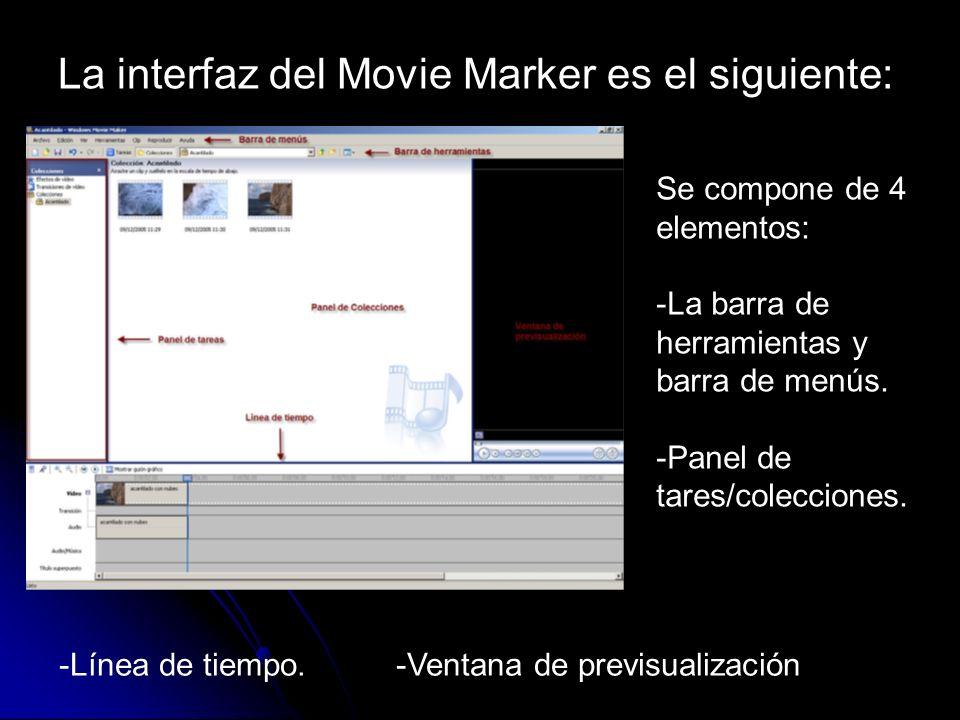 La interfaz del Movie Marker es el siguiente: