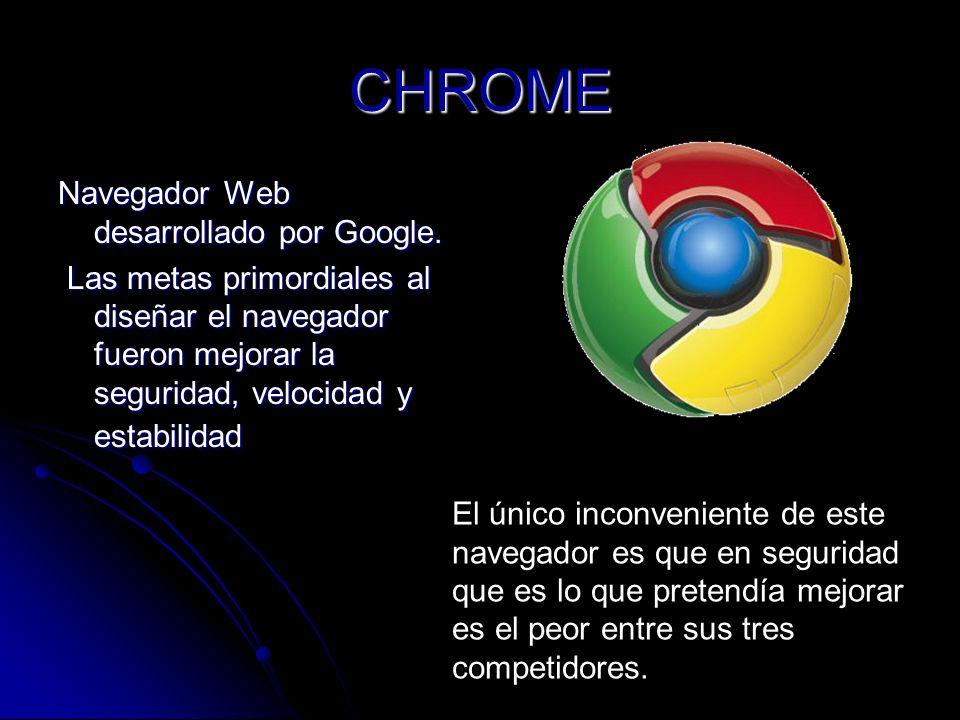 CHROME Navegador Web desarrollado por Google.