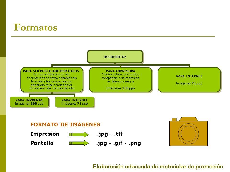 Formatos Elaboración adecuada de materiales de promoción