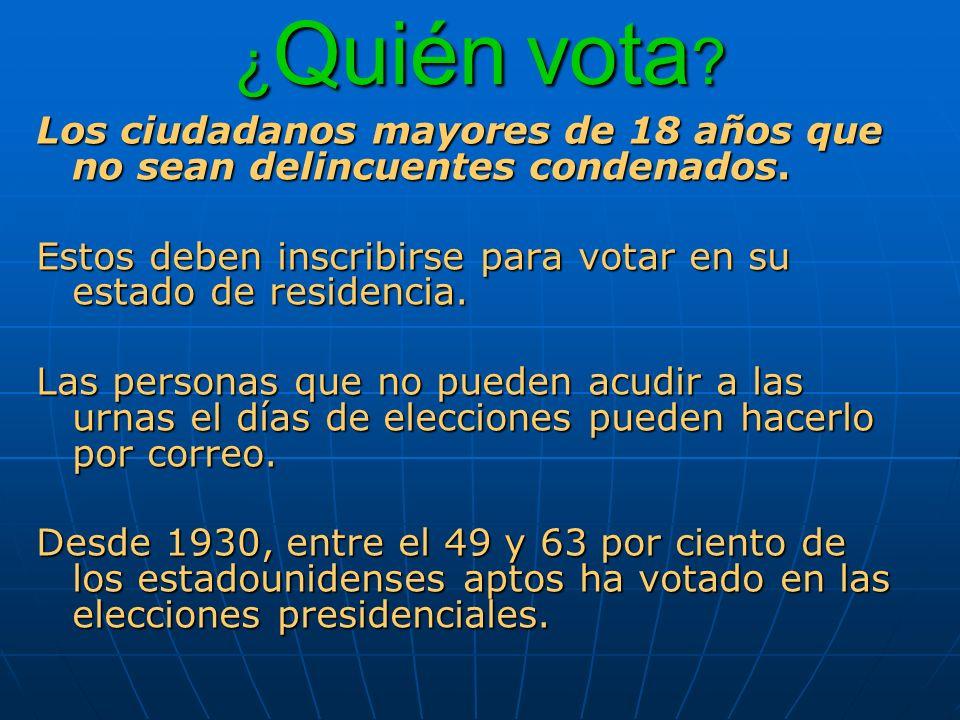 ¿Quién vota Los ciudadanos mayores de 18 años que no sean delincuentes condenados. Estos deben inscribirse para votar en su estado de residencia.
