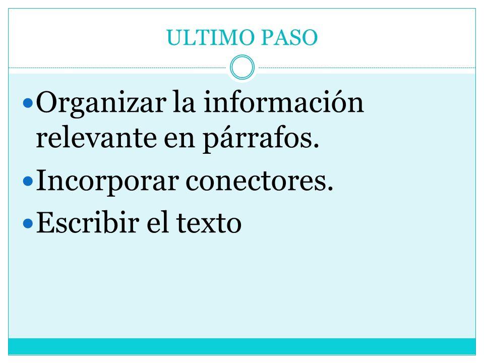 Organizar la información relevante en párrafos. Incorporar conectores.