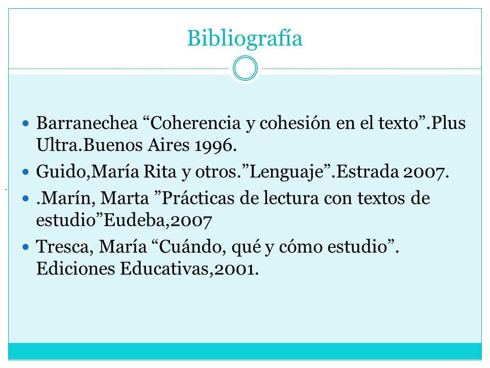BibliografíaBarranechea Coherencia y cohesión en el texto .Plus Ultra.Buenos Aires 1996. Guido,María Rita y otros. Lenguaje .Estrada 2007.