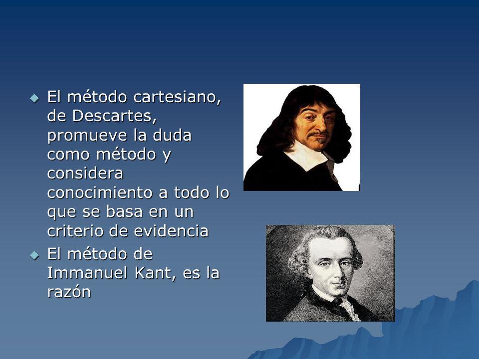 El método cartesiano, de Descartes, promueve la duda como método y considera conocimiento a todo lo que se basa en un criterio de evidencia