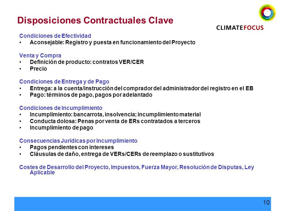 Disposiciones Contractuales Clave