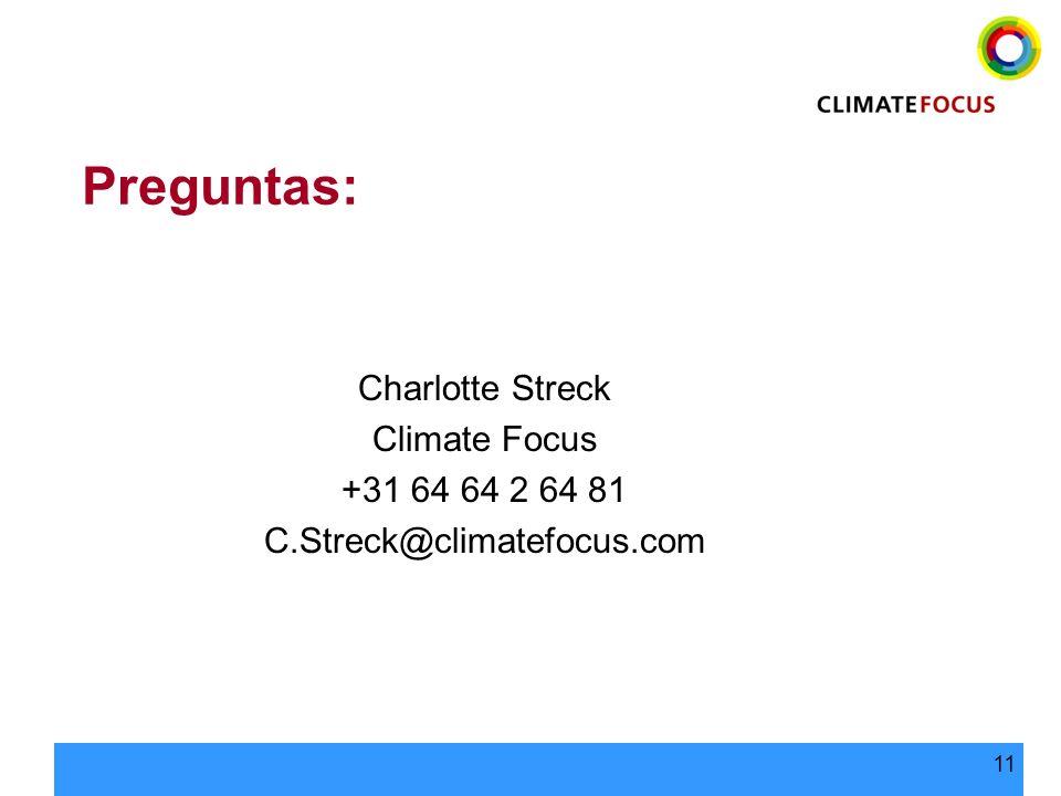 Preguntas: Charlotte Streck Climate Focus +31 64 64 2 64 81