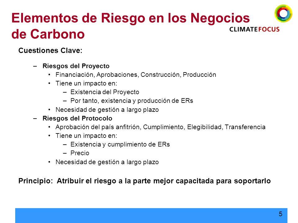 Elementos de Riesgo en los Negocios de Carbono