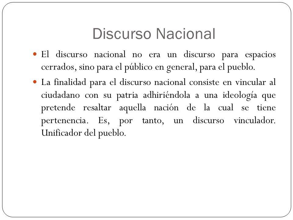 Discurso Nacional El discurso nacional no era un discurso para espacios cerrados, sino para el público en general, para el pueblo.