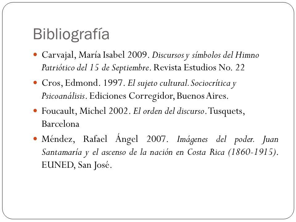 Bibliografía Carvajal, María Isabel 2009. Discursos y símbolos del Himno Patriótico del 15 de Septiembre. Revista Estudios No. 22.
